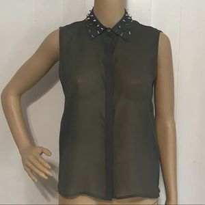 Urban Outfitters Spiked Collar Gray Sheer Top NWOT